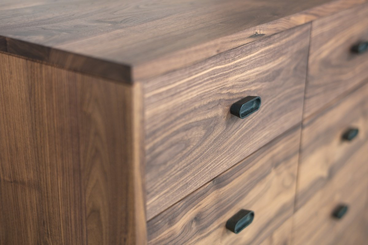 Available In American Black Walnut Or American White Oak Finished With A  Danish Oil Or A White Oil, With Drawer Handles And Legs In Seasoned Cast  Iron.